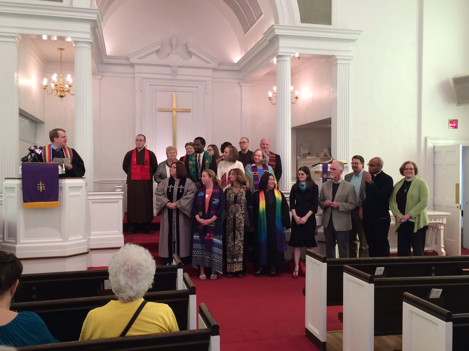 Nearly 20 clergy from several different faiths stood together Wednesday afternoon, taking a stand against Senate Joint Resolution 39. (Dwain Crispell/KCTV)