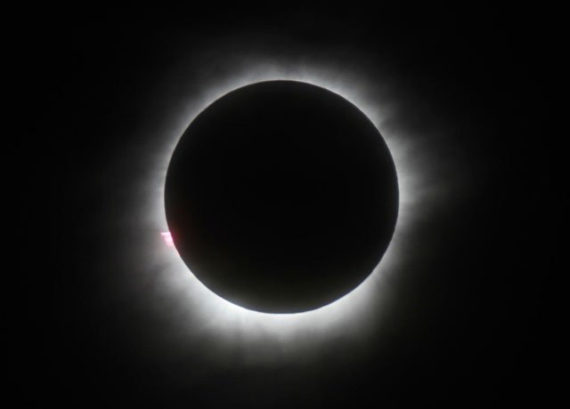A total solar eclipse is seen in Belitung, Indonesia, Wednesday, March 9, 2016. A total solar eclipse was witnessed along a narrow path that stretched across Indonesia while in other parts of Asia a partial eclipse was visible. (AP Photo)
