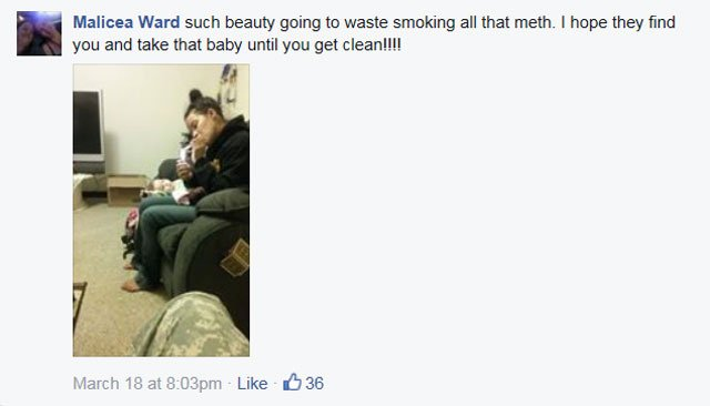 "The photo of 27-year-old Ashley Lewis was shared Monday on social media with the caption ""Such beauty going to waste smoking all that meth. I hope they find out and take that baby until you get clean."" (Facebook)"