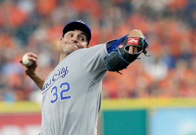 Chris Young, Kansas City's winning pitcher in the 2015 World Series opener, had been designated for assignment. (AP Photo/Pat Sullivan)