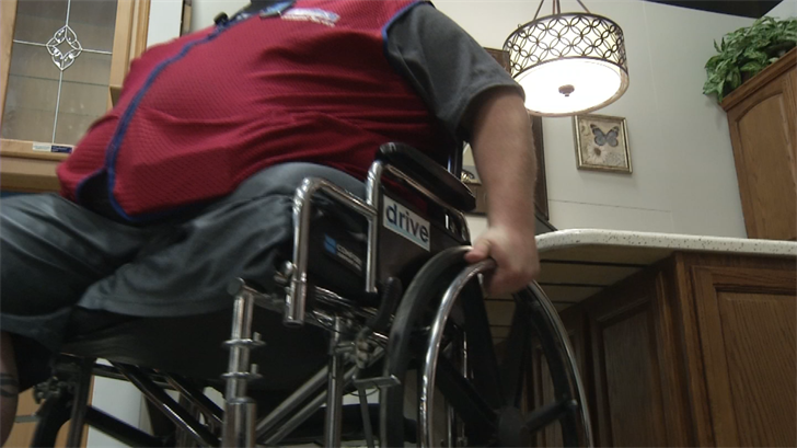 After 15 surgeries in 11 years and a leg amputation, Justin Shaffer's wheelchair was stolen in the parking lot of the Lowe's where he works. (Source: KCTV)