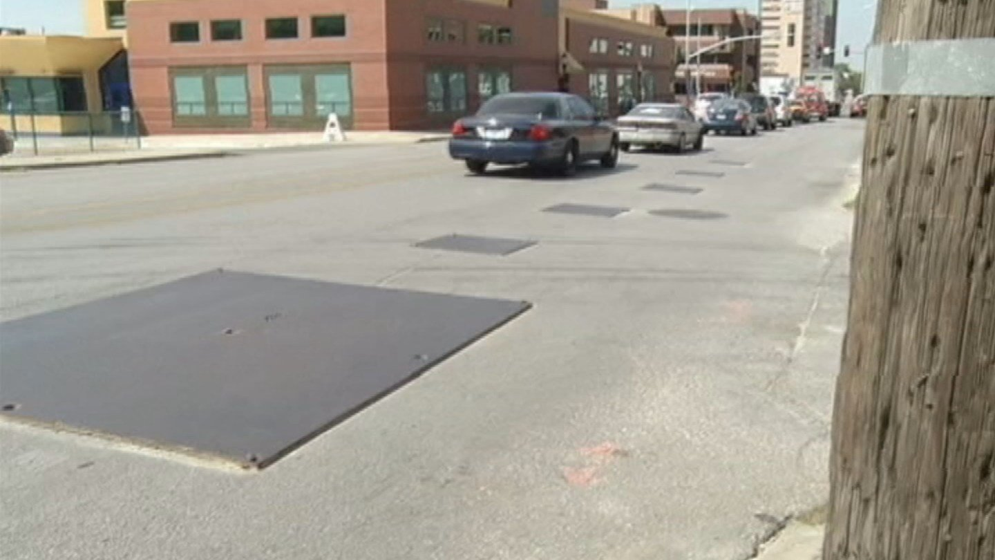 Kansas City city auditor Doug Jones said those pesky steel plates at road construction sites aren't meeting city code regulations and are hazardous to drivers and their cars. (Source: KCTV)