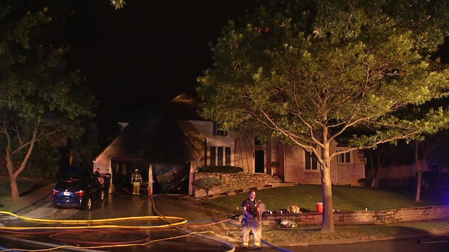 An Overland Park home sustained significant damage Friday night after the garage went up in flames.  (Source: KCTV)