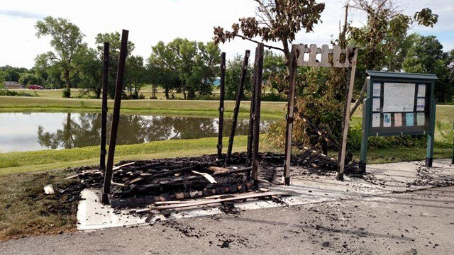 A restroom on the Butterfly Trail in Grain Valley was left in ashes after suspected vandalism late Thursday night or early Friday morning. (Source: Grain Valley Parks and Recreation)