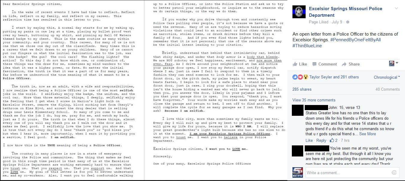 excelsior springs officer pens candid letter in wake of deadly d excelsior springs officer pens candid letter in wake of deadly dallas shootings