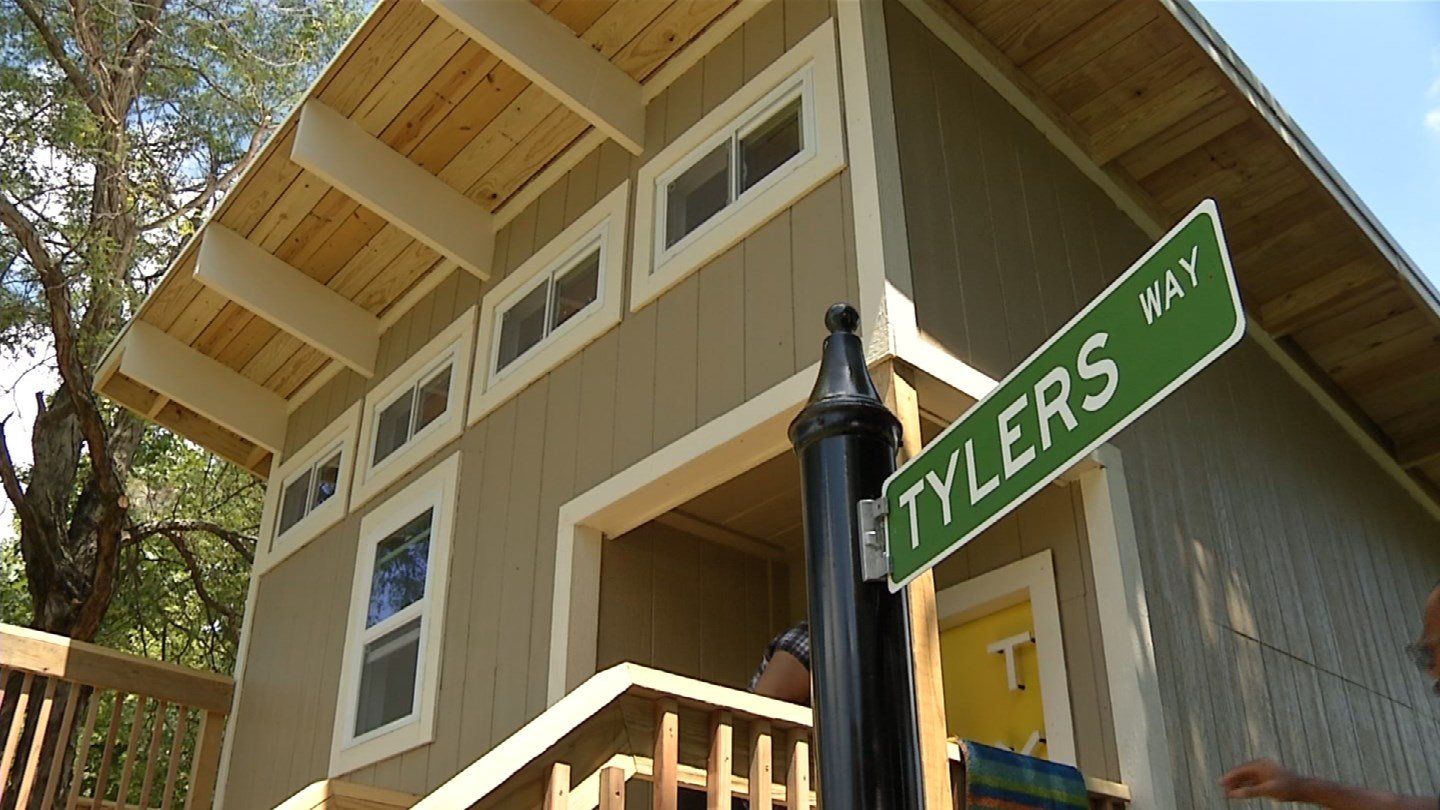 The playhouse is two-stories high and features a spacious deck. (KCTV5)