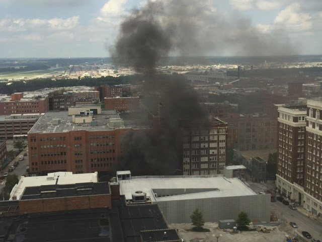 The fire broke about 2:30 p.m. Saturday near 10th and Central streets. (Submitted)