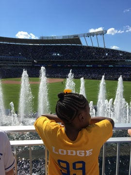 The children, ages 8 to 14, with Big Brothers Big Sisters of Greater Kansas City watched as the Kansas City Royals beatthe ChicagoWhite Sox10-3 on Sunday. ( Kansas City Fraternal Order of Police)