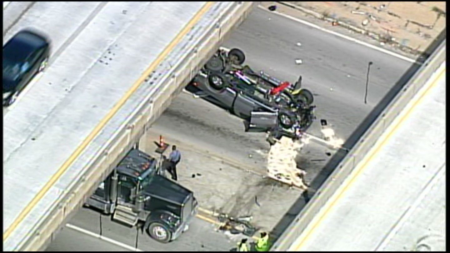 One person was killed Tuesday afternoon in a rollover crash on I-435. (KCTV5)