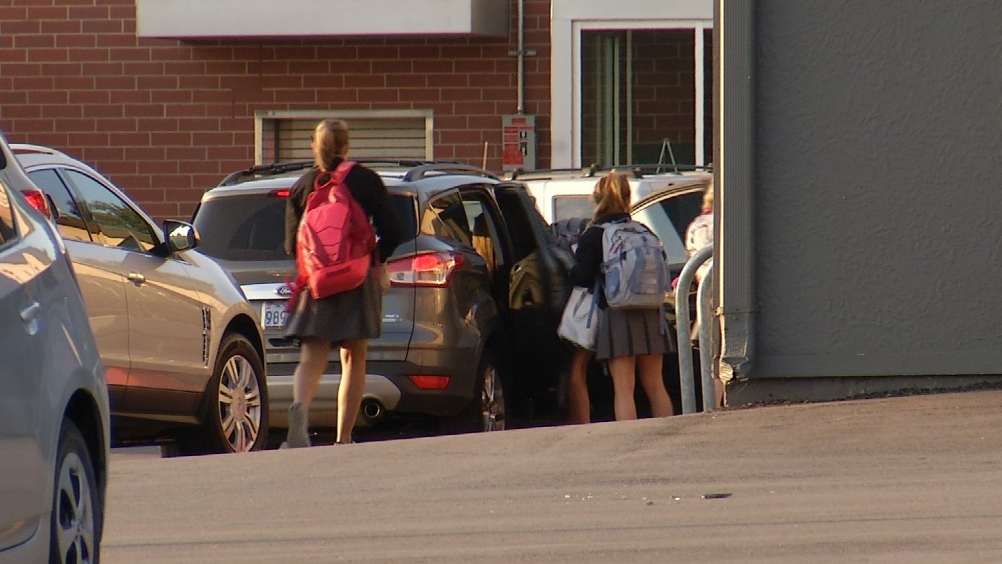 Students at Notre Dame De Sion planned on talking with KCTV5 before school started to express their support and official hashtag #WearBlackToStopAttacks, but the group was convinced otherwise. (KCTV5)