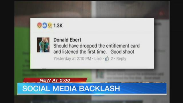 A screenshot of Officer Donald Ebert's Facebook posting. (KCTV5)