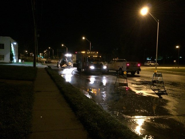 Crews say they plan to have the break fixed by 7:15 a.m. Monday. (Nate Tacey)