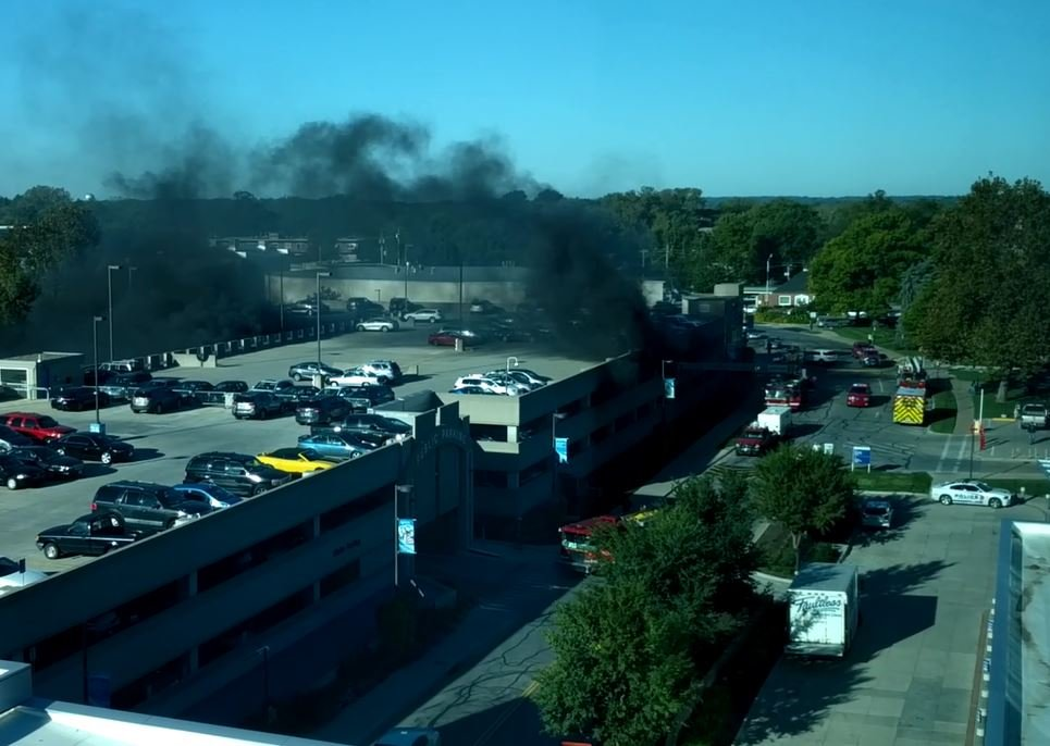 Crews responded to a call of multiple car fires in a staff garage at the hospital about 9:15 a.m. Wednesday. (Courtesy of Dr. Raj Bhattacharya)