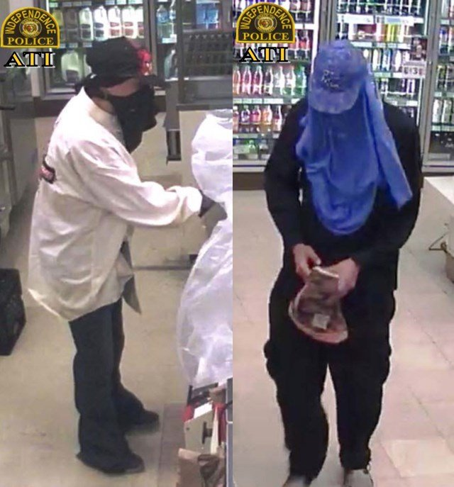 A view of both suspects wanted in connection with an armed robbery. (Independence Police Department)