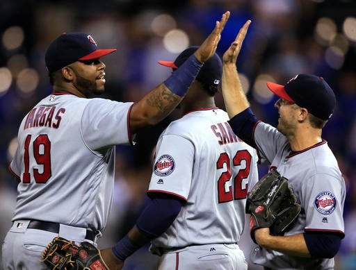 Minnesota Twins closer Brandon Kintzler was concentrating on Terrance Gore, the Kansas City Royals' pinch-runner, not Paulo Orlando, the hitter. (AP PHOTO)