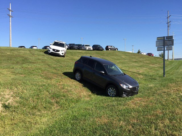 Two cars on a seemingly more shallow portion of the hill. (Jeff Roberts/KCTV5)