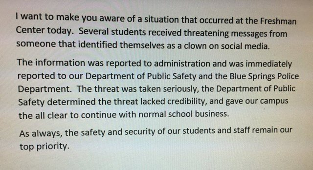 A screenshot of the statement sent out by the school district. (KCTV5)