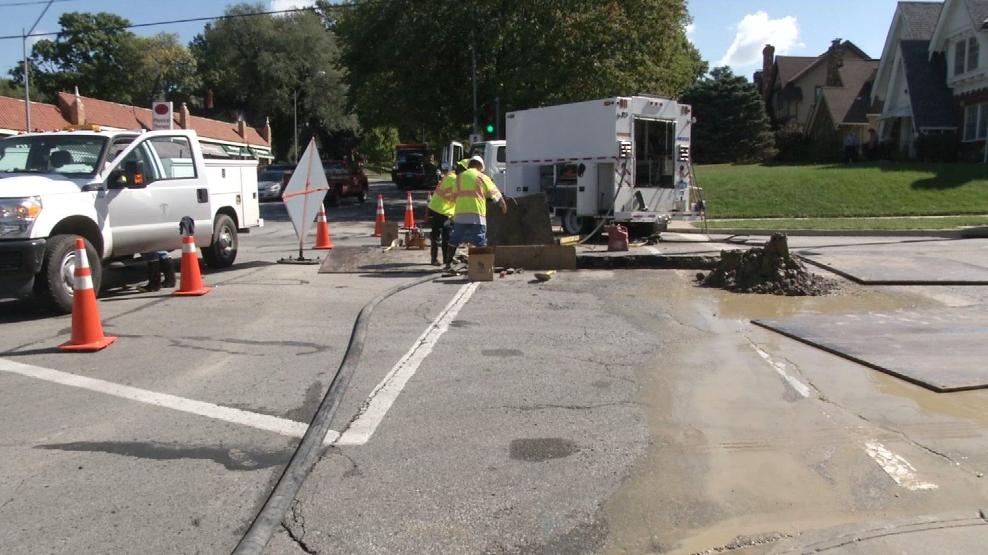 KCTV5 News reached out to Kansas City Water Services for answers. They say crews discovered a problem underground, and that's why the work couldn't get done overnight. (KCTV5)