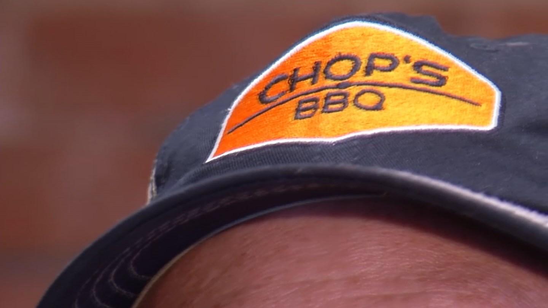 The Chop's BBQ logo on Dan Ulledahl's hat. (KCTV5)