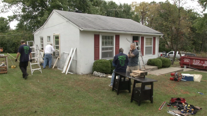 Volunteers help to rebuild a home in Clay County as part of annual rebuilding day. (Natalie Davis/KCTV5)
