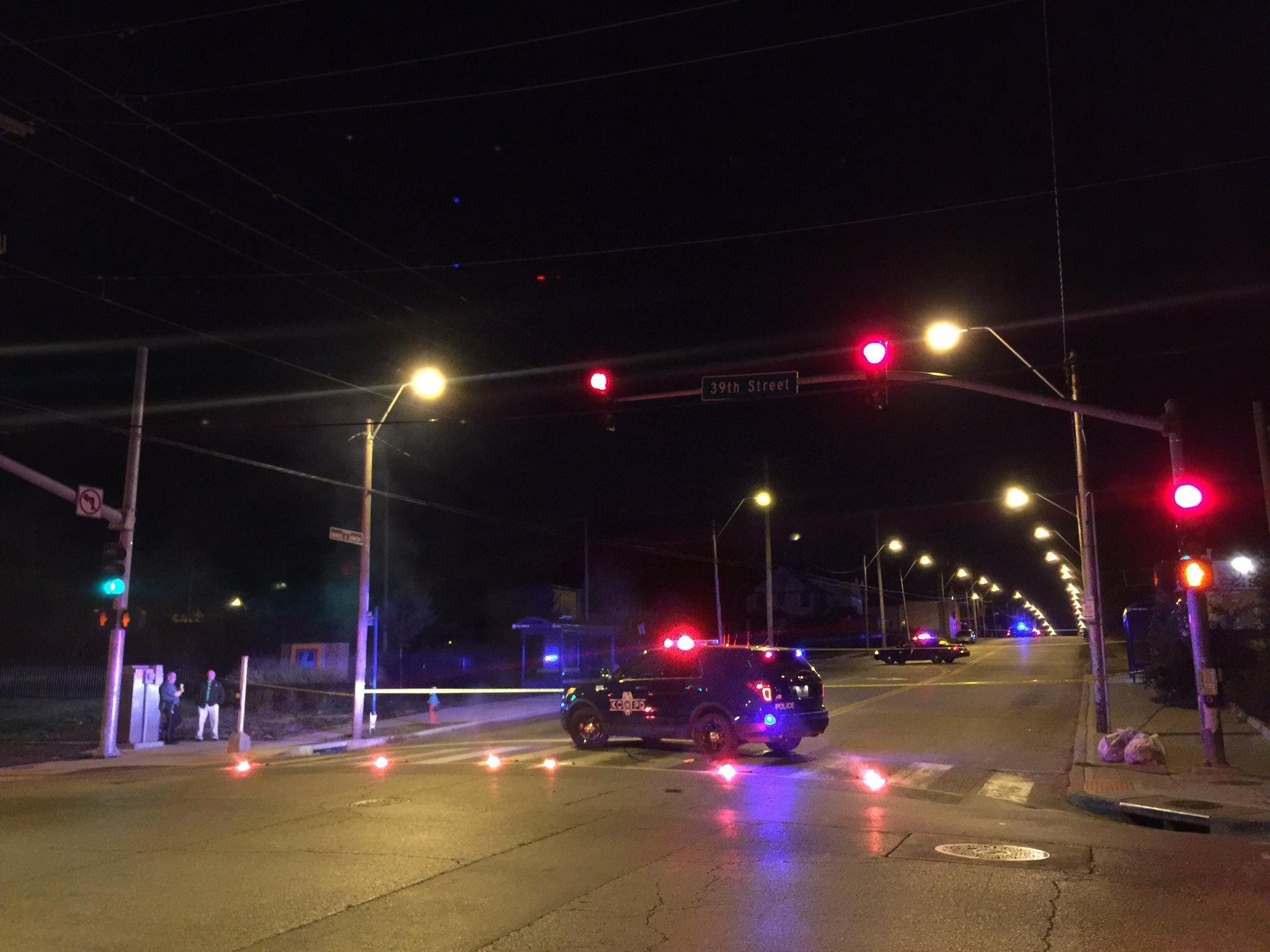 Police say it started with an altercation at a bus stop near about 12:30 a.m. Monday near East 39th Street and Prospect Avenue. (Charlie Misra/KCTV5 News)