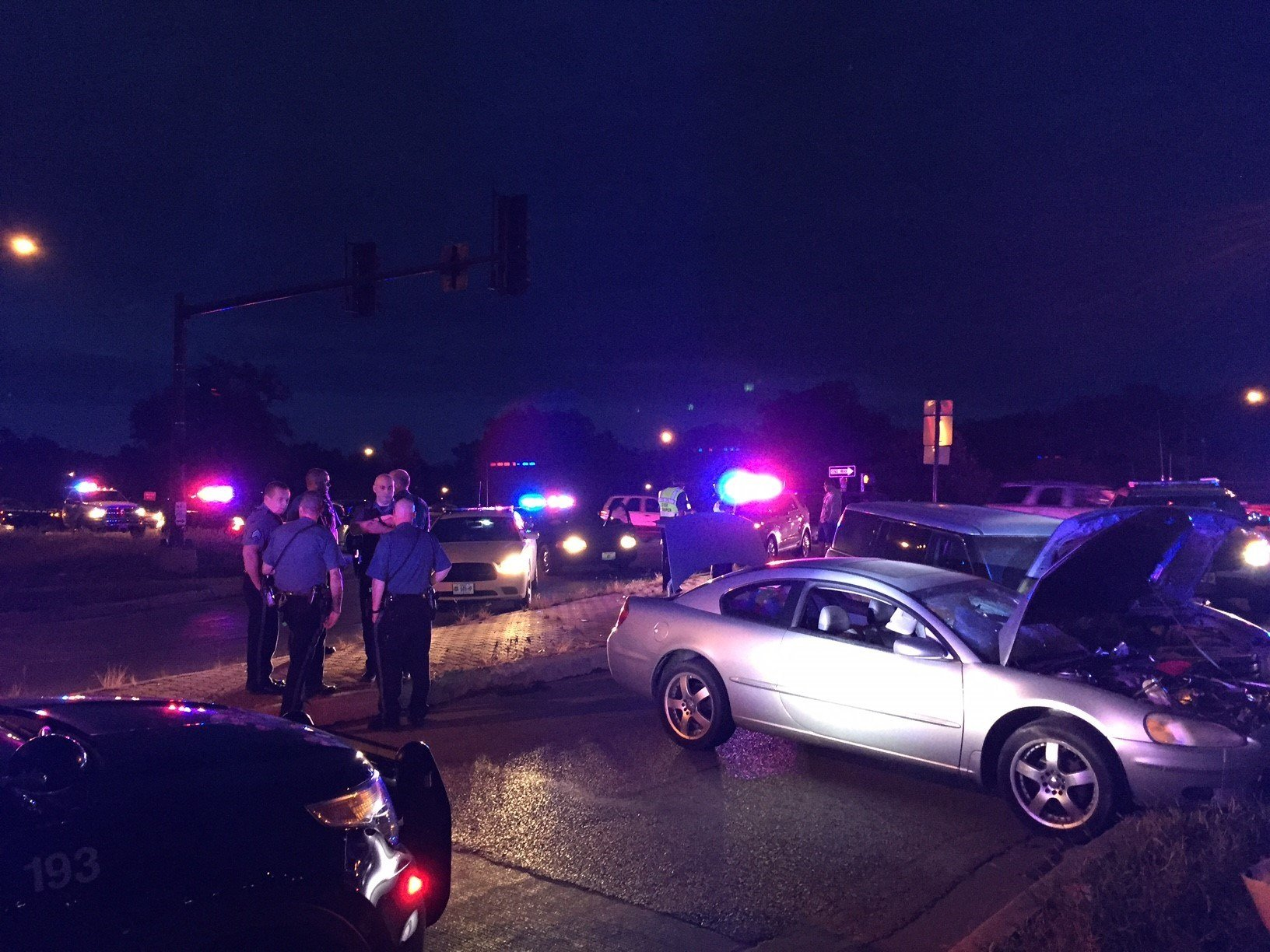 A car chase ended in a crash at US 71 and 59th St. in KCMO. (Dwain Crispell/KCTV5)