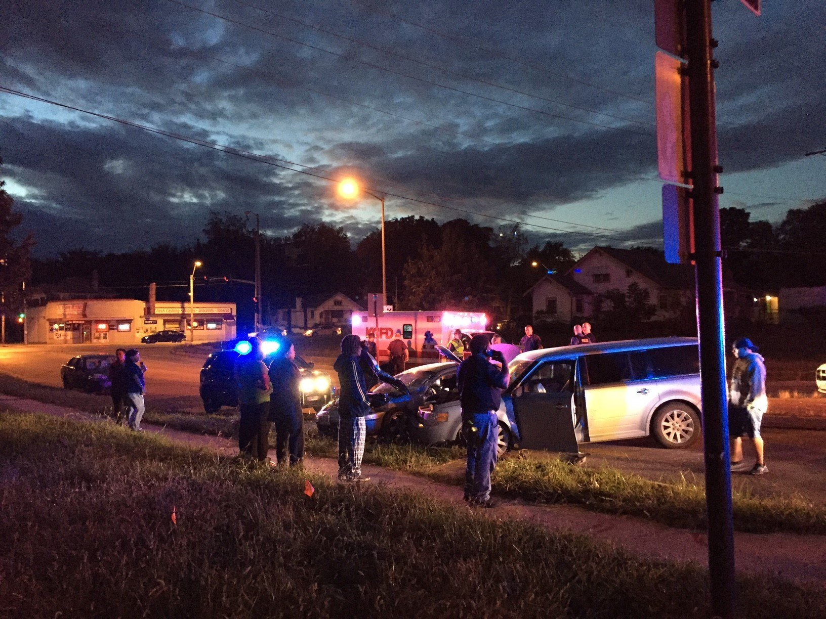The suspect attempted to turn onto westbound 59th St. at a high rate of speed, went over the median and struck another vehicle in the eastbound lanes. (Dwain Crispell/KCTV5)