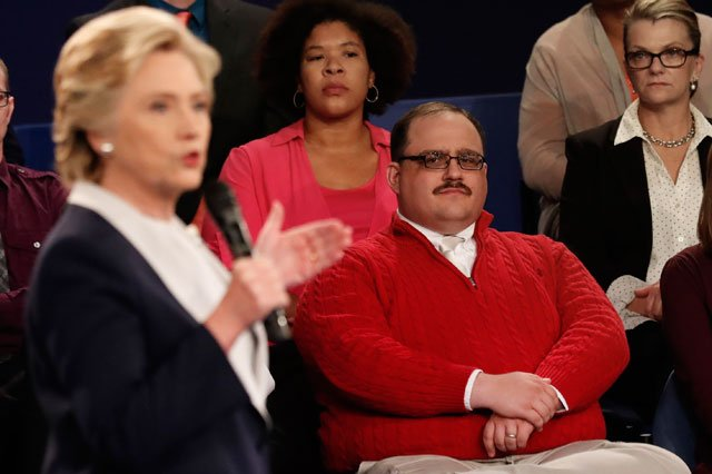 Kenneth Bone listens as Democratic presidential nominee Hillary Clinton answers a question during the second presidential debate with Republican presidential nominee Donald Trump at Washington University in St. Louis, Sunday, Oct. 9, 2016. (AP)