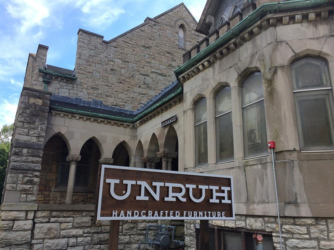 Once the Westminster Congregational Church on Walnut Street is now a furniture business. (Natalie Davis/KCTV5 News)