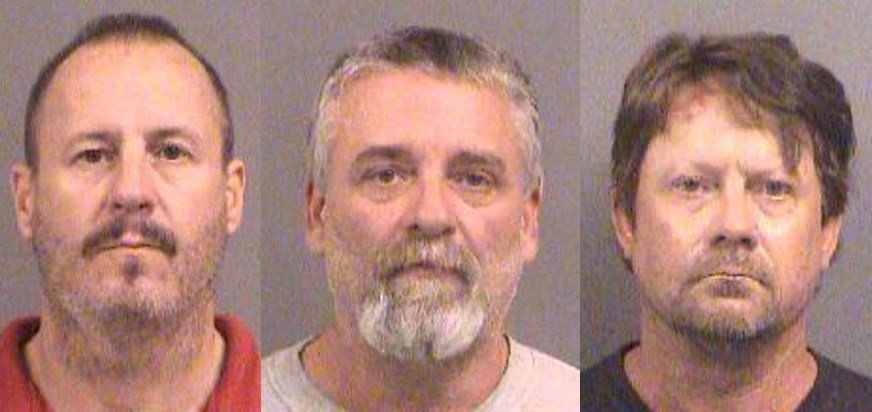 Curtis Wayne Allen, 49 (left), Gavin Wayne Wright, 49 (middle), and Patrick Eugene Stein, 47 (right), are charged in a complaint unsealed Friday with conspiring to use a weapon of mass destruction. (Sedgwick County Sheriff)