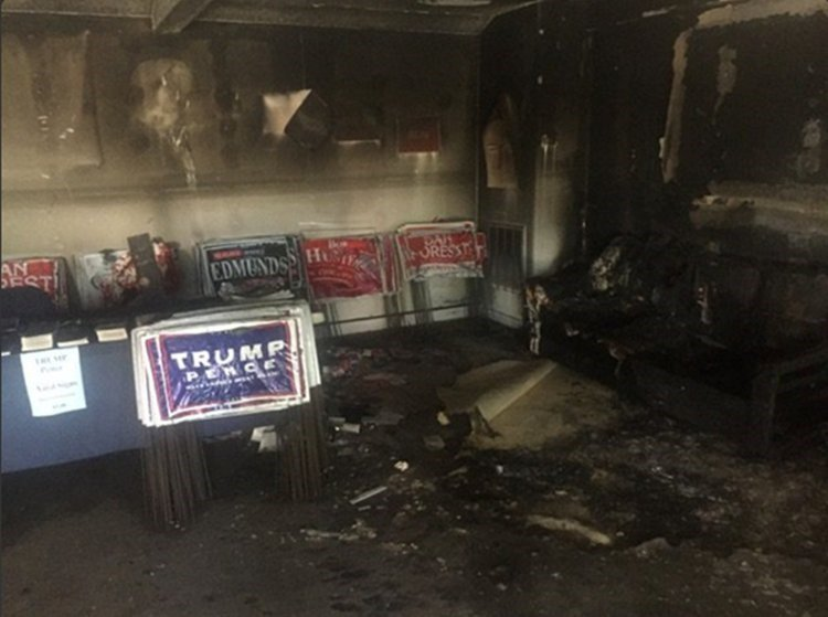 "A GOP office in Hillsborough, North Carolina, was firebombed over the weekend, with a swastika and the words ""Nazi Republicans get out of town or else"" spray painted on an adjacent building, according to local officials. (CNN)"