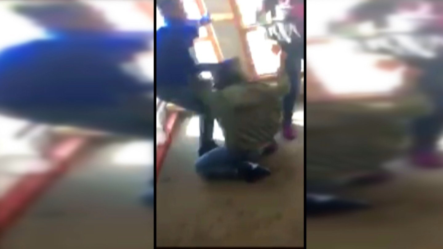 Amouri'a Johnson says it reached a violent climax on Monday when a different group of students jumped her. Another student captured the video of several girls and a boy beating the 14-year-old girl. (Submitted)