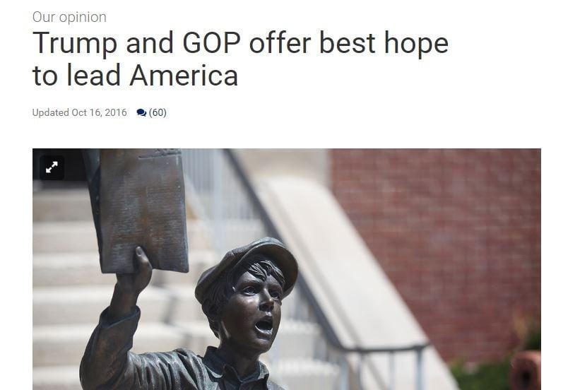 A local newspaper near the Kansas City metro area is one of three so far that's endorsed Republican nominee Donald Trump.(St. Joseph News Press)