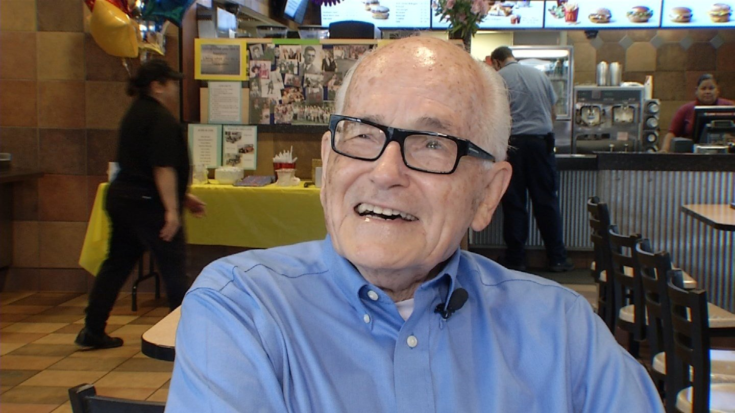 John Jelinek,who turned 90 on Monday, claims punching-the-clock for his fountain of youth. (KCTV5)