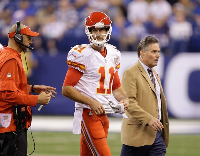 Kansas City Chiefs quarterback Alex Smith walks off the field during the second half of an NFL football game against the Indianapolis Colts, Sunday, Oct. 30, 2016, in Indianapolis. (AP Photo/Michael Conroy)