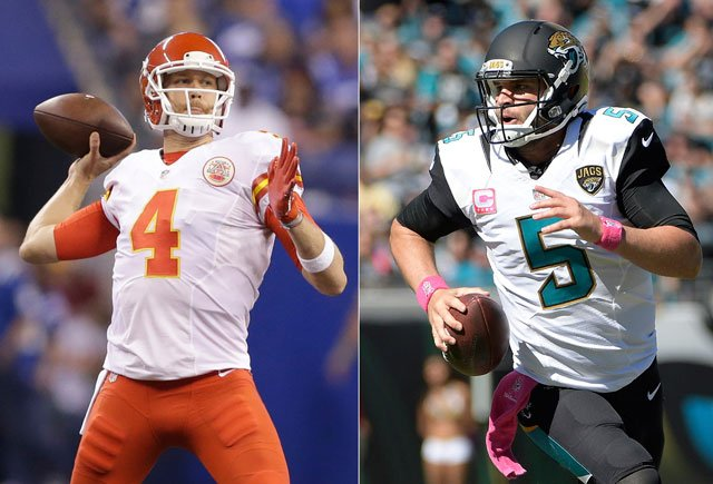At left, in an Oct. 30, 2016, file photo, Kansas City Chiefs quarterback Nick Foles throws against the Indianapolis Colts. At right, in an Oct. 23, 2016, file photo, Jacksonville Jaguars quarterback Blake Bortles (5) runs against the Oakland Raiders.(AP)