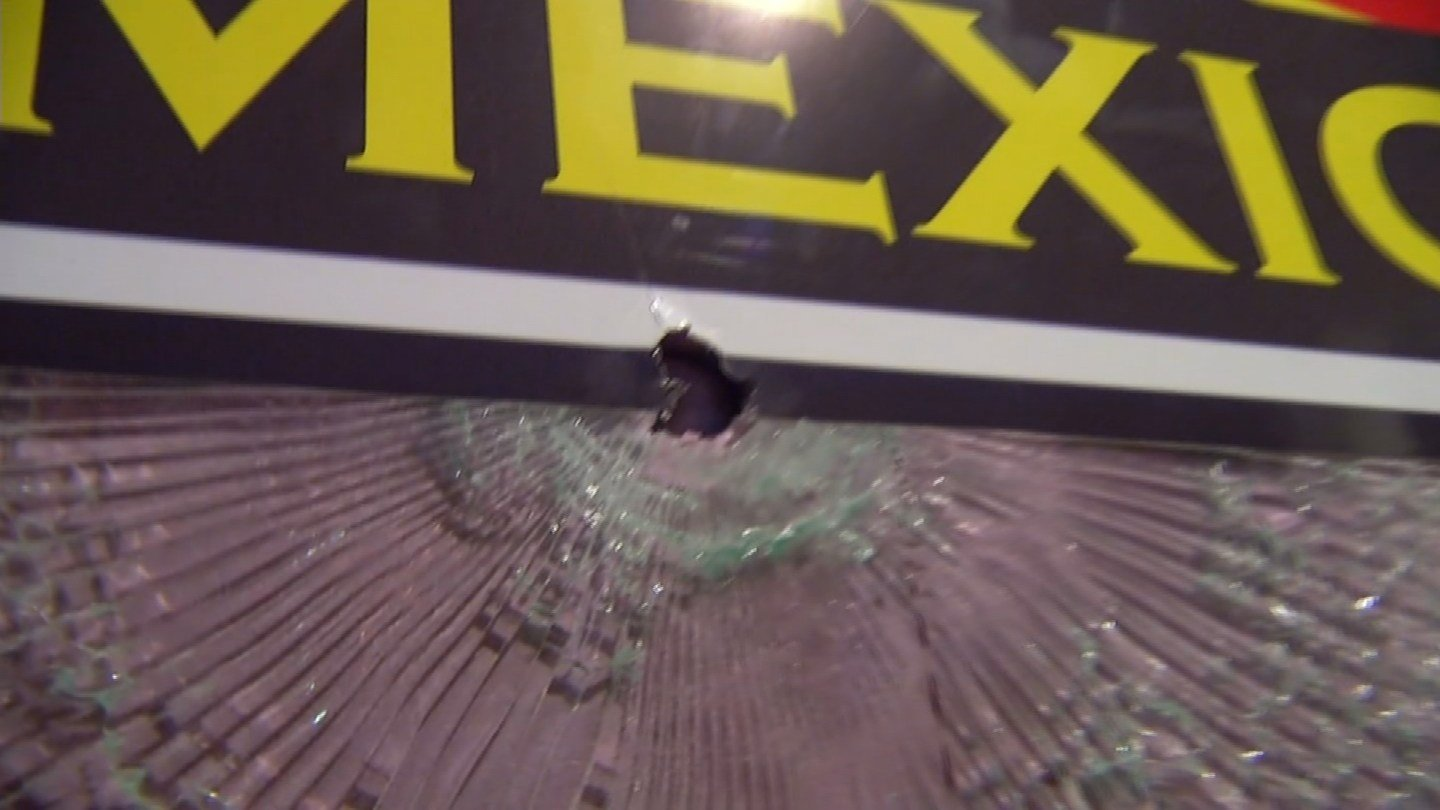 During the fight, someone pulled out a gun and fired. No one was hurt, but one bullet did hit a window. (KCTV5)