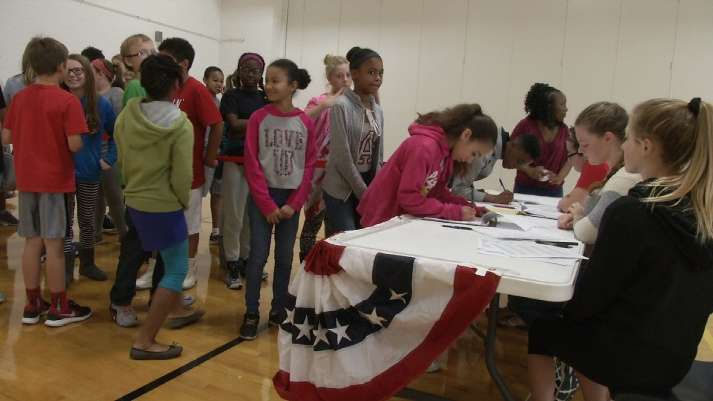 The students at Northgate Middle School are voting for president, governor, U.S. senator and U.S. representative, and they're excited to have a voice. (KCTV5)