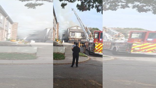 Early reports from on scene say that nine families were displaced by this fire. (KCTV5 viewer)