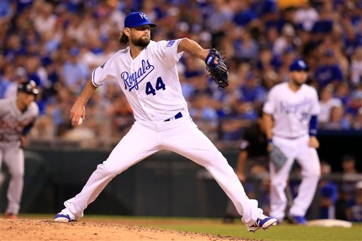 Kansas City Royals relief pitcher Luke Hochevar during a baseball game against the Detroit Tigers at Kauffman Stadium in Kansas City, Mo., Saturday, June 18, 2016. (AP Photo/Orlin Wagner)