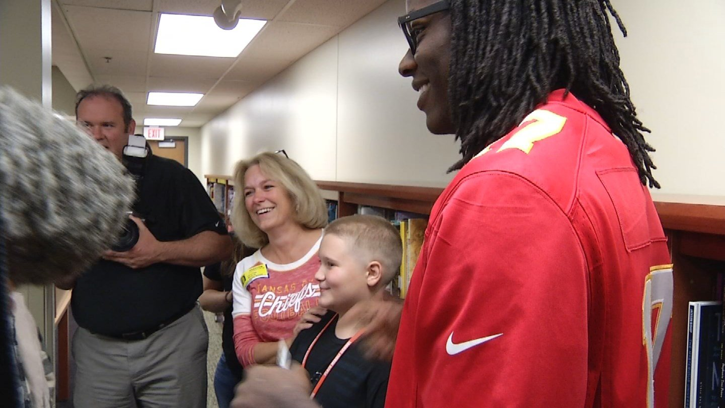 On Monday, Kansas City Chiefs wide receiver Chris Conley met the family of a soldier who died. (KCTV5)
