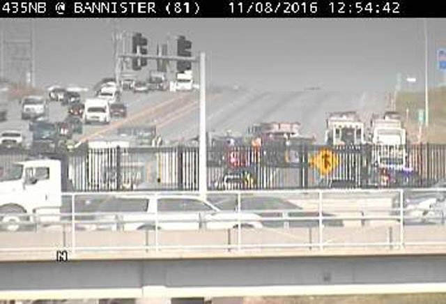 All northbound lanes of I-435 at Bannister Road are closed after a fatality crash. (KC Scout)