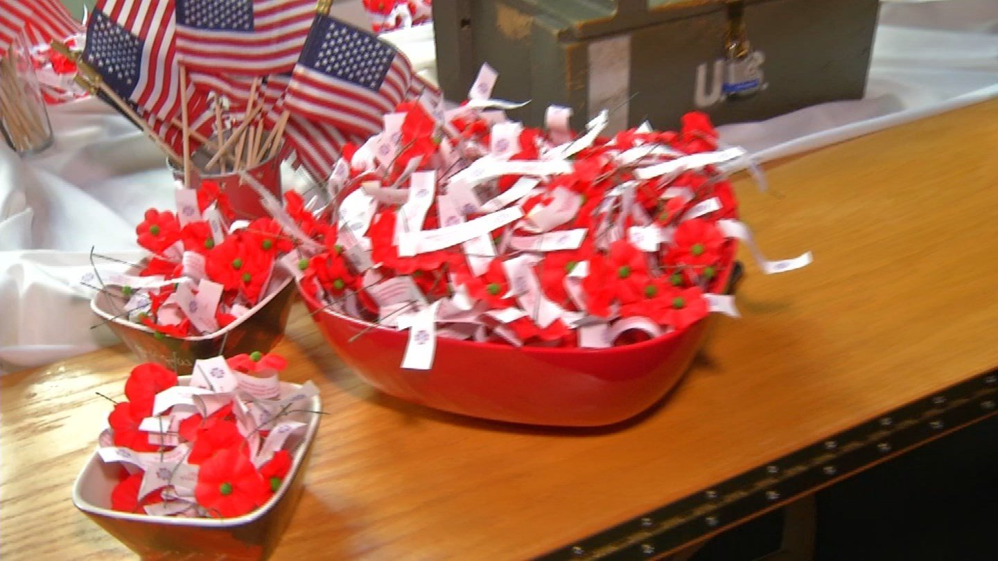 Visitors could find poppy flowers and American flags throughout the World War I museum on Veterans Day. (KCTV)