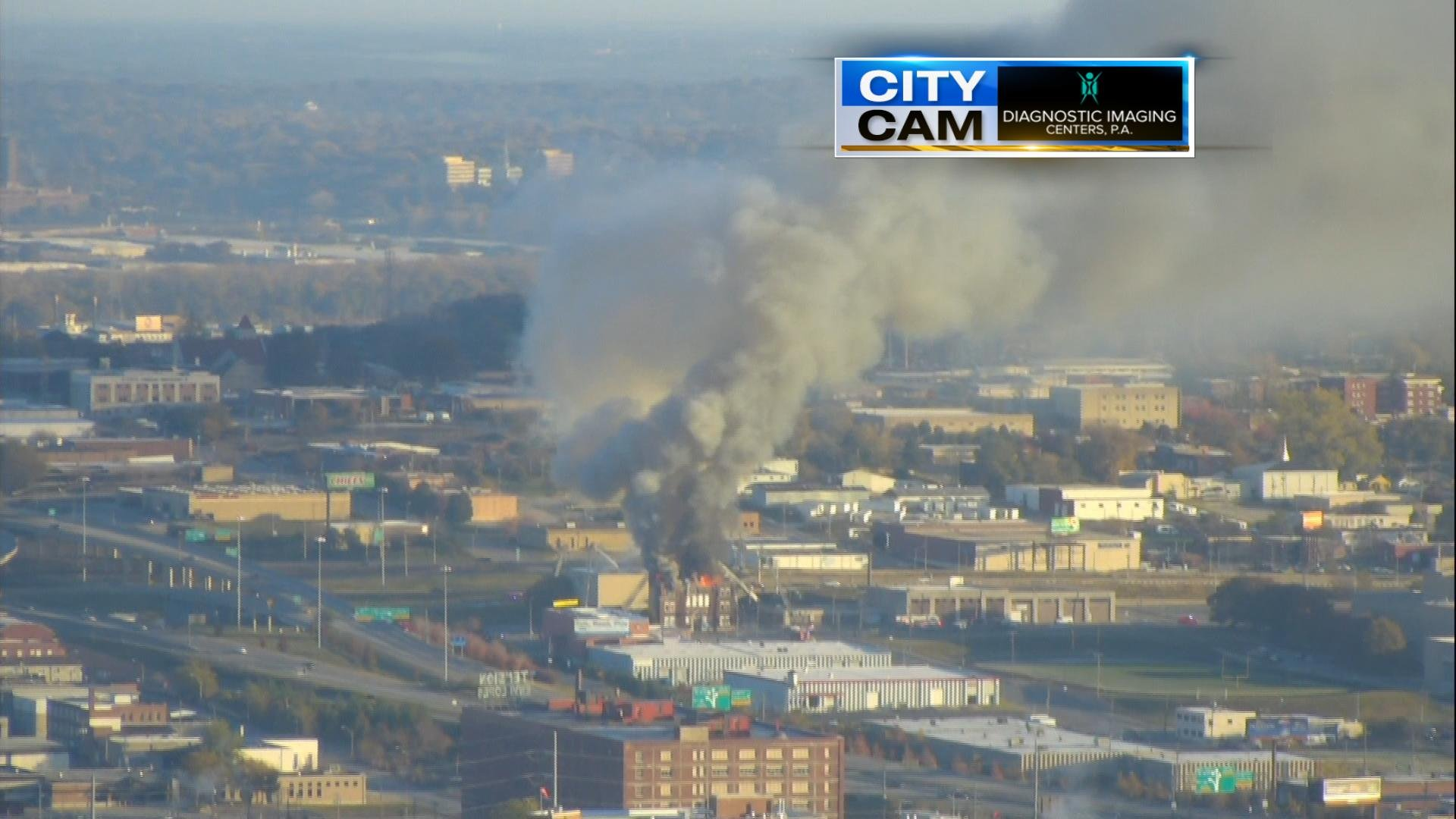 View from the sky of the church fire. (KCTV5 News)