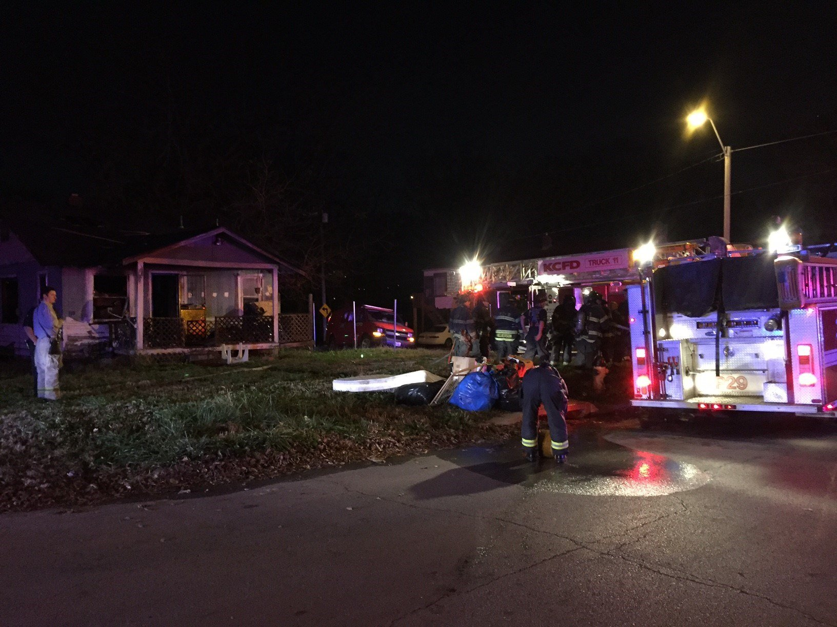 Firefighters were called to a house fire at E. 58th Terr. and Walrond Ave. (Dwain Crispell/KCTV5)