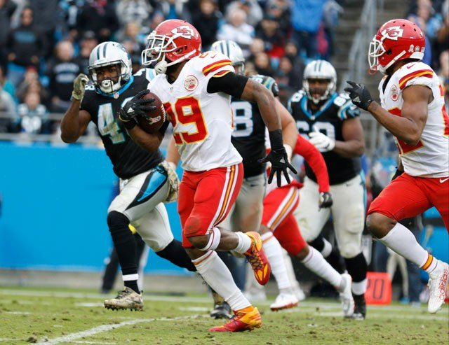 Kansas City Chiefs' Eric Berry (29) returns an interception for a touchdown against the Carolina Panthers in the second half of an NFL football game in Charlotte, N.C., Sunday, Nov. 13, 2016. (AP Photo/Bob Leverone)