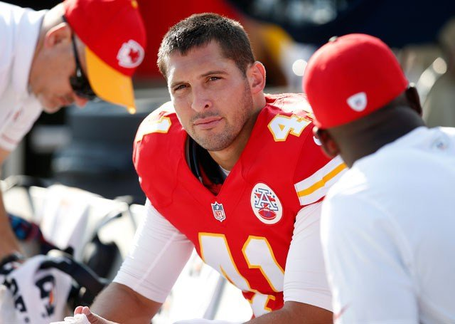Kansas City Chiefs long snapper James Winchester sits prior to a preseason NFL football game against the Los Angeles Rams, Saturday, Aug. 20, 2016, in Los Angeles. (AP Photo/Rick Scuteri)