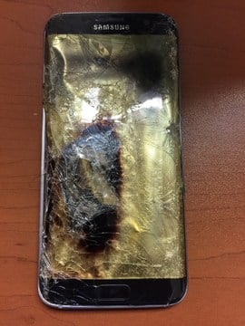 A picture of the student's phone that caught on fire in class. (KCTV)