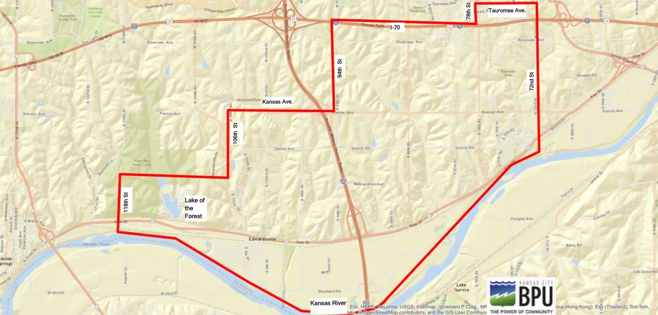 This map shows the area that was affected by the boil water advisory. (BPU, KDHE)