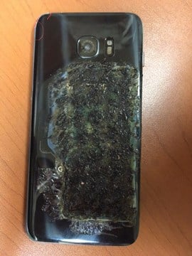 A view of the back of the student's phone that caught on fire. (KCTV)